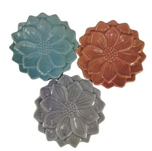 3-Piece Set Flower Plates Trinket Candle Holders